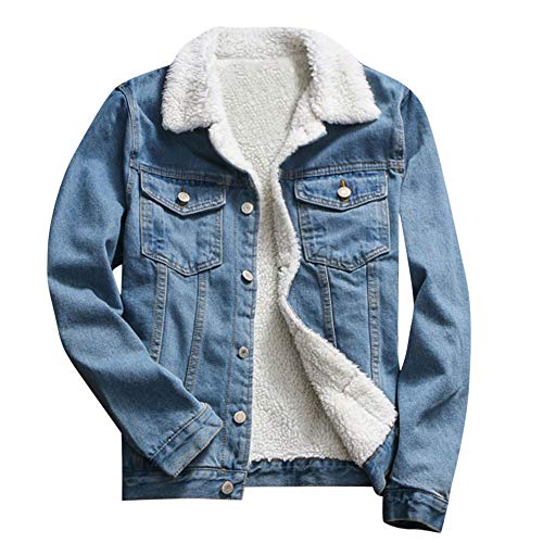 FRAUIT Damen Winter WarmJacke Wollmantel Denim Upset Jacke Arctic Velvet Rundhals Damen Mantel Revers Lose Langarm Outwear Tasche Reißverschluss Winterjacke Mode Kurz Coat Mode Streetwear -