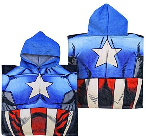 Kinder Bade Poncho Offiziell Disney & Marvel Sortiert Charaktere Kapuzen Handtücher - Captain America