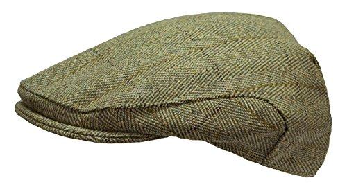Mens Derby Tweed Flat Cap Teflon Coated Hat by WWK / WorkWear King
