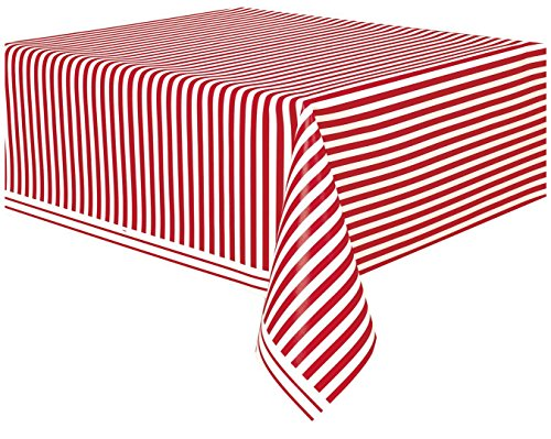 Unique Party 50300 - Nappe en Plastique au Motif Rayé Rouge, 2,74 m x 1,37 m