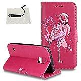 TOCASO Schutzhülle Flamingo Glitzern Blumen für Samsung Galaxy S5 Leder Wallet Hülle Briefcase PU Leder Tasche Flip Cover Case Bunt Tasche Handyhülle Shell Schale Magnet - Flamingo Rotes Stück