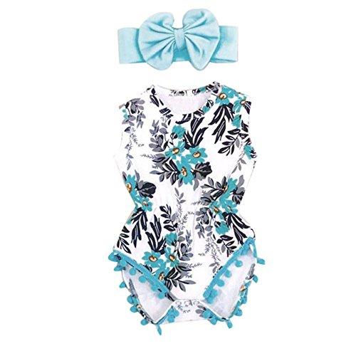 Babykleidung Honestyi Neugeborenes Kleinkind Kind Baby Mädchen Print Spielanzug Jumpsuit Sunsuit + Stirnband Kleidung Set (Blau,90)