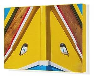 Toile imprimée de l'oeil d'Horus traditionnel peint à Malte, Marsaxlokk fishing boat, Malte