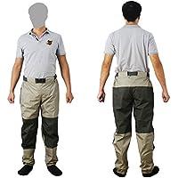 Pesca con Mosca Pantalones de Vadeador Rope de Pesca Cintura Impermeable Transpirable Waders con Calcetines KB003
