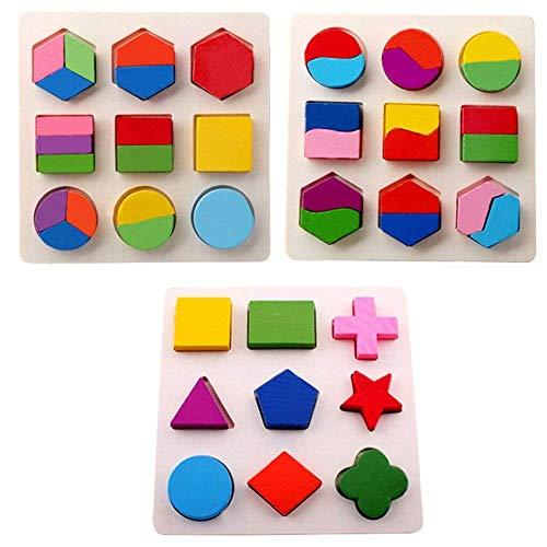 Bloques de madera de la forma Rompecabezas, Montessori Geometry Bloques de construcción Niños bebé Early Learning Juguete educativo para niños entre 3-6 años de edad (3 piezas)