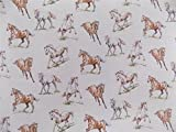 Hoogwaardig stoffmaterial, Motief savage-geheugen paarden, dieren, beige, katoen, per HALF meter