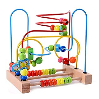 Lewo Animal Bead Maze Roller Coaster Colorful Abacus Circle Toy Early Educational Toys Wooden Baby Toddler Toys for Kids Boys Girls