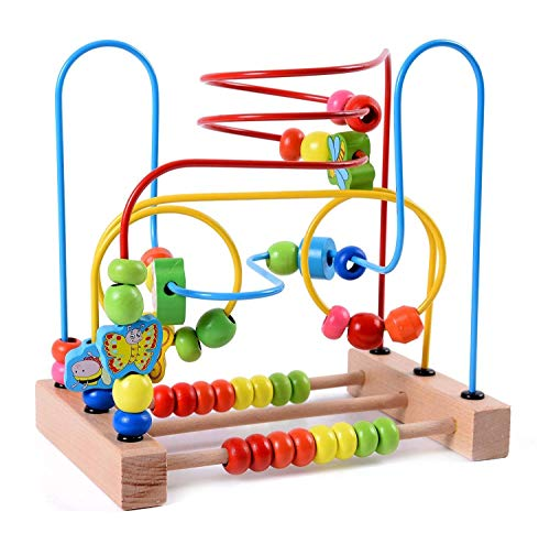 Lewo Animal Bead Maze Roller Coaster Colorful Abacus Circle Toy Early Educational Toys Wooden Baby Toddler Toys for Kids Boys Girls, Essential baby toys, toys for every developmental stage, baby toys, must have baby toys, the best toys for babies, gift ideas for babies, Christmas baby gift ideas, gifts for babies