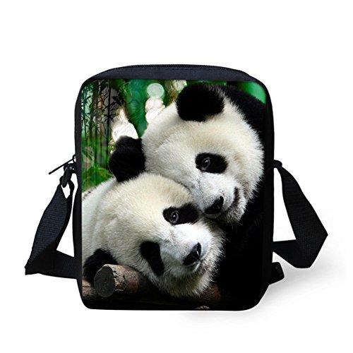 HUGSIDEA , Damen Schultertasche Schwarz Mops S panda