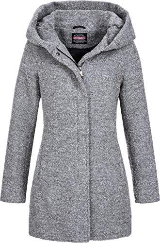 Sublevel Damen Woll-Mantel Jacke LSL-298/352 Kapuze meliert Light Grey L