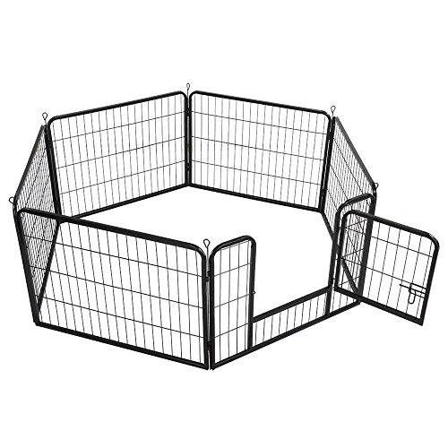 Yaheetech 6-Eck Welpenauslauf Laufgitter Tierlaufstall mit Tür Freilaufgehege je Panel 80 x 60 cm Zaun Gitter Welpen