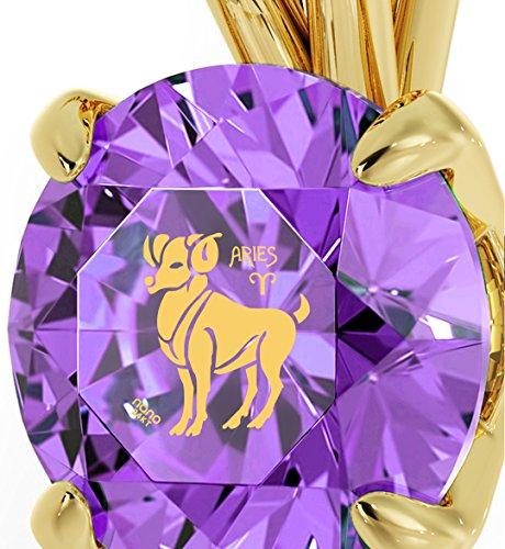 Pendentif Signe du Zodiaque Plaqué Or - Collier Bélier avec Inscription en Or 24ct sur un Cristal Swarovski, 45cm - Bijoux Nano Violet Clair