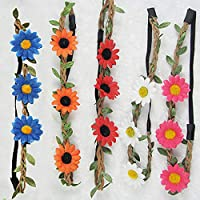 Plat Firm Boho Stil Floral Flower Festival Beach Party Haarband Headbrand