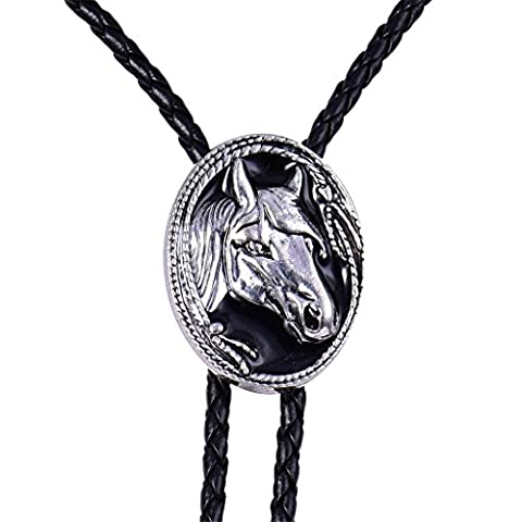 MASOP Vintage Silver Tone Men Horse Head PU Leather String Western Cowboy Bolo Tie