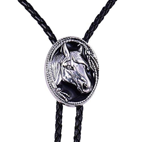 MASOP Pferdekopf Bolo Tie Krawatte Vintage Stil Western Cowboy für Männer Frauen Jungen Unisex Schwarz geflochten Leder Halskette mit Oval Titan Edelstahl Anhänger (Ereignis Schuhe Männer)
