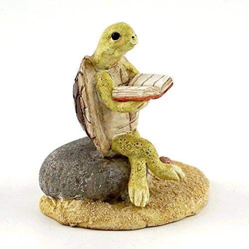 Top Collection Miniatur Fairy Garden & Terrarium Schildkröte Lesen auf Stein Statue, klein