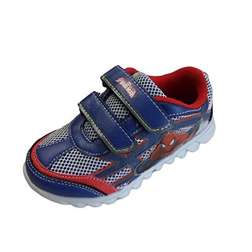 Spiderman scarpe sportive bambino con luci a strappo colore blu/rosso artspi2r00 (29, blu/rosso)