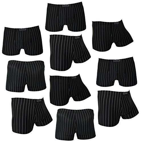 10er Pack COOL24 Retro-Boxershorts für Herren aus Mikrofaser mit Nadelstreifen - XXL