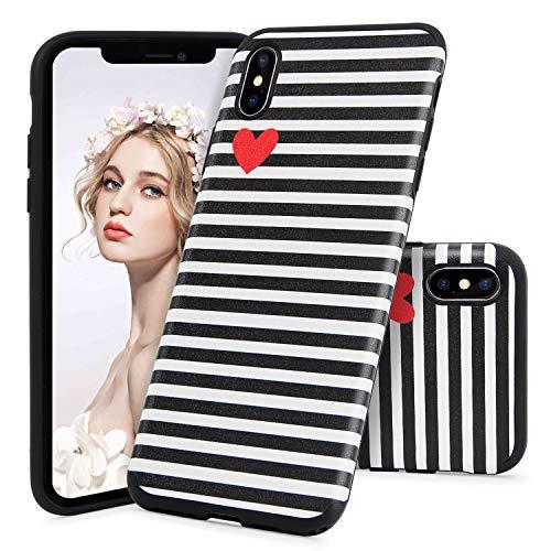 Imikoko iPhone XS Max Hülle, R&umschutz Handy Hülle Schutzhülle Weich Silikon TPU Case Streifen Super Sweet Cute für Girl Frauen Mädchen