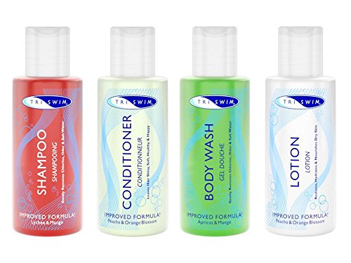 TRISWIM Travel Set 4 x 74 ml - Anti-Chlor - Schwimmer Shampoo Conditioner