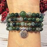 YCE 108 Moos A-Tor Mala Meditation Buddhistische Gebetskette Armband-Halskette Neuanfang Fülle Stärke Lotus OM Handgelenk