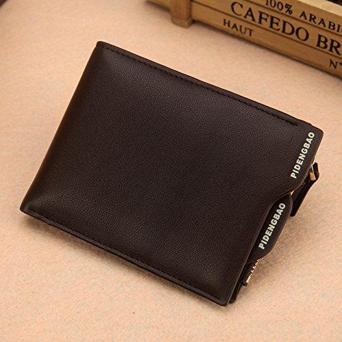 Herren Geldbörse mit Reißverschluss für Karte / Geld Kaffee (horizontale Tasche)