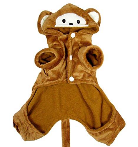 Yuncai Niedlich Stereoskopisch Affe Verkleidung Kostüme für Hund Lustige Halloween Party Haustier Mantel Cosplay Kaffee (Kostüme Für Den Hund Affe)