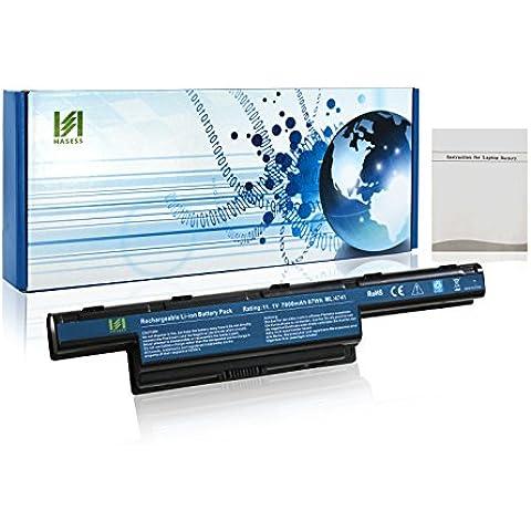 HASESS Alta Capacidad 7800mAh/87Wh 11.1V Batería Portátil de Repuesto 9 Celdas para Acer Aspire 4253 4551 4552 4738 4741 4750 4771 5251 5253 5336 7552G 7560 Gateway NV55C NV53A NV60C - 12 Meses de