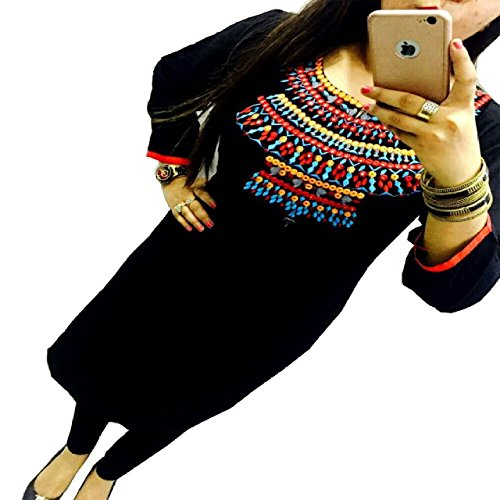 Kesu Fahion Women's Embroidered semi-stitched Selfie Kurti In Georgette Fabric (KUKRT1013_Free Size_Black)  available at amazon for Rs.375