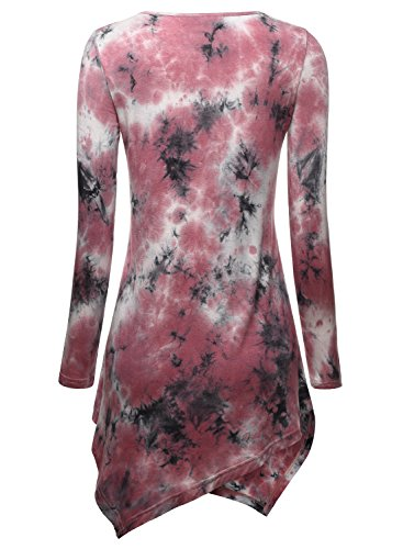 DJT Femme T-shirt Tops Blouse Manches longues Col rond Pull-over hauts pink