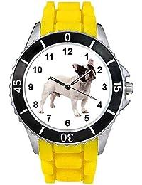 Bulldog francés Unisex Reloj para hombre y mujer con correa de silicona amarillo