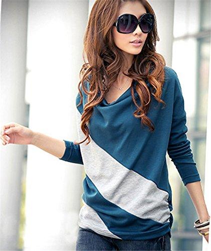 Fanessy Femme T-shirt Blouse Chemisier Femme Débardeurs Manches Longues Debardeur Femme Top Femme Bleu