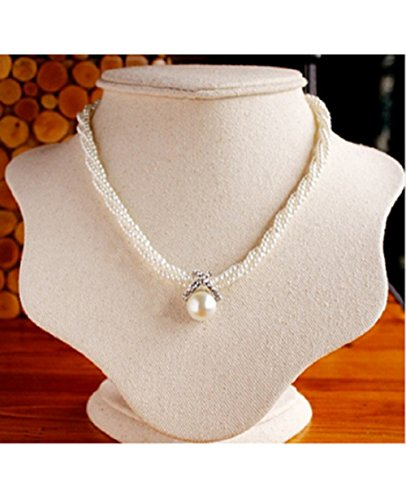 Stunning Twist Chain Choker Chunky Imitation Pearl Pendant Necklace