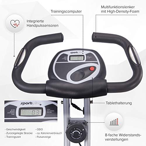 SportPlus Vélo d'Appartement / S-Bike - Ordinateur de Contrôle - Système de Freinage Magnétique Haute Performance - Pliable et ultra Compact - 8 niv. de Résistance - Jusqu'à 100 kg