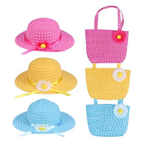 Toyvian 3 Satz von Mädchen Sonnenhut Strohhut mit Geldbörse Sommerhüte Beach Hut für Kinder(blau, gelb, rosa) -
