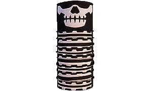 Autofy Multipurpose Unisex Black & White Skull And Neck Bones Headwrap/Bandana (Freesize)