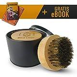 Gold Lions Bartbürste aus 100% Wildschweinborsten I +Geschenkbox / Aufbewahrungsbox I +Bonus eBook I Zufriedenheitsgarantie