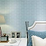HANMERO® Murales decorativos pared Papel pintado autoadhesivo imitación ladrillo piedras no tejido papel de pared dormitorios/salón/hotel/ fondo de TV /color azul, 0.53M*10M