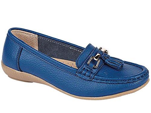 Damen-Mokassins, nautisches Leder, flache Slipper mit Quaste, rutschfest und bequem, Größe 35,5 - 42., Blau - kobaltblau - Größe: 42 (Sandalen Leder-klassische, Flache)
