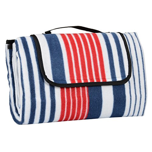XXX-Large Outdoor Picnic Blanket with Waterproof Backing – 200 x 200 cm Beach Rug Mat – Folding and Portable Perfect for Beach, Travel, Festival, Camping – Red & Blue Stripe
