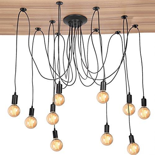 Cocoarm Spinne Kronleuchter DIY Decke Spider Lampe Retro Industry Ceiling Light DYI Vintage Pendelleuchte Speisesaal Schlafzimmer Hotel Dekoration (10 Kopf) (Industrie-stil Esszimmer-sets)