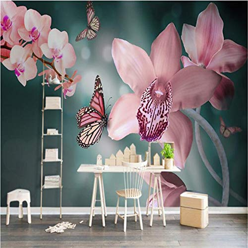 Xbwy Große Fresko Moderne Schöne Schmetterling Orchidee Blume Tv HintergrundSuper Grüne Tapete-280X200Cm