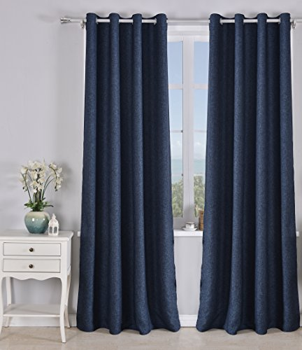 Pimpamtex tenda oscurante 2pezzi termica isolante, tende oscuranti per salotto, cameretta e camera, con 8occhielli, 140x 260cm, modello finto lino blackout 140_x_260_cm blu