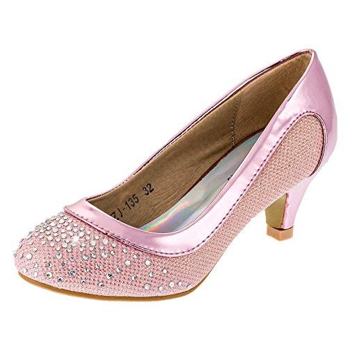 Festliche Mädchen Pumps Ballerina Schuhe Absatz Glitzer in Vielen Farben M149rs Rosa 34