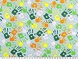Jersey Druck, farbige Hände, mehrfarbig auf hellblau, 150cm