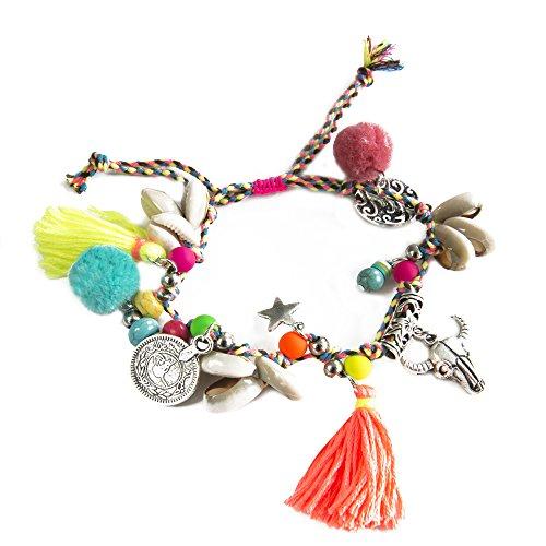 Kiss Me. Original TOPModel Ibiza Hippie Mercado Mujer elástica pulsera de plata colgante conchas brillantes plumas conchas perlas Varios Colores