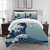not la Couette-Le Linge de lit,Blue Japan Oriental Japanese Style Great Wave in Vintage China Kanagawa Antique,Microfibre,1 Couette 220×240CM et 2 taie d'oreiller 50×80CM