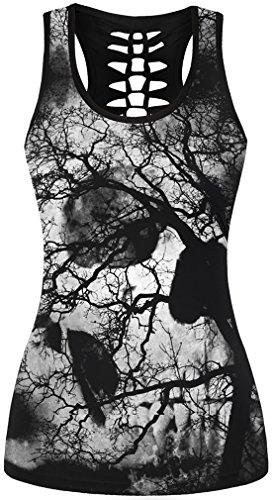 EmilyLe Femme Débardeur à Imprimé Gothique Motifs fantaise Tête de Mort T-Shirt sans Manche Punk Noir-07