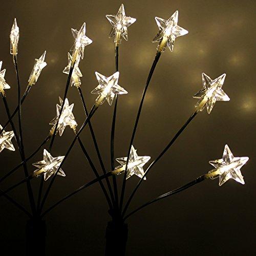 Multistore 2002 4X LED Garten Leuchtstäbe Sternenstäbe 66cm 24 LED-Lichter mit Erdspieß Außendekoration Außenbeleuchtung Gartenbeleuchtung Weihnachtsbeleuchtung