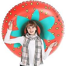 Jasonwell Invierno Fresa Nieve Tubo - Trineo hinchable redondo tobogán inflables con bolsa de transporte gratuita - Regalos decoraciones para Navidad fiestas de cumpleaños para niños adultos